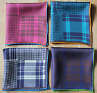 Silk Pocket Squares Tartan Plaid. Hand rolled. New with defect.