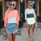 Fashion Women Irregular Loose T-shirt Long Sleeve Patchwork Pullover Casual Tops