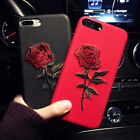 Hot Fashion Embroidery Rose Flower Hybrid Soft Case Cover for iPhone 8 6S 7 Plus