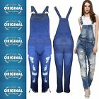 Ladies Ripped ASH Acid Wash LONG Denim Stretch Dungaree Jeans Mid Bib Overalls