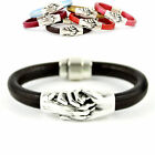 Silver & Leather Handcrafted Pet Paw Hand Love Bracelets - SALE BENEFITS RESCUE