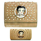 Betty Boop circle quilted Rhinestone wallet cross shoulder bag set purse party $36.03 USD