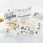 Christmas Gold Letters Bronzing Snowflake Throw Pillow Case Sofa Cushion Covers