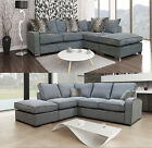 Fernando Hula Fabric Corner Sofa Grey LH RH Scatter Cushions + Formal Sofas