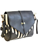 Fashionable navy blue leather look handbag with blue and white cotton design