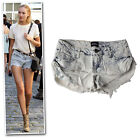 New blue bleached frayed low-rise stretchy ruched size denim shorts