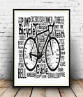 Bicycle 4:  Cycling terms and words Spelled out in poster, Wall art.