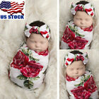 USA Newborn Baby Floral Swaddle Wrap Swaddling Sleeping Bag Blanket Headband Set