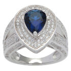 Sterling Silver Vintage-style Pear-shape Navy Blue Cubic Zirconia Halo and Split