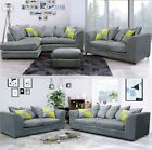 Neo Eton Fabric Corner Sofa RH LH Grey High Quality Plush Cushions Scatter Back