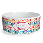 Personalised Triangle Pattern Custom Design Dog Bowl Cat Pet Food Dinner Dish