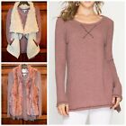 She + Sky Mauve Chunky Stretchy Waffle Weave Thermal Long Sleeve Tunic Top S-L
