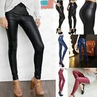 Womens High Waist Slim Stretch Wet Faux Leather Skinny Tight Pants Leggings UD