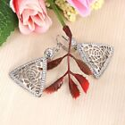 Hollow Out Precious gorgeous Gift Triangle Rhinestone Mosaicked Pendant Earrings
