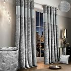 Luxury Diamante Crushed Velvet Curtain Pair Fully Lined Ring Top Eyelet Silver