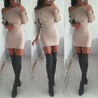 Womens Fall Winter Long Sleeve Jumper Sweater Tops Slim Party Bodycon Mini Dress