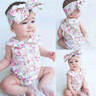 Newborn Baby Girls Bodysuit Romper Jumpsuit Sunsuit Outfit Clothes+Headband