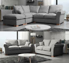 Fable Large Corner RH LH Sofa Fabric Formal Plain Silver With Large Footstool 3