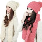 Hot Lady Hat Scarf Set Stylish Knitting Beanie Thicken Scarves Winter Daily Wear