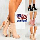 chunky cut out shoes - US Women Chunky High Heels Zip Up Sandals Open Toe Pumps Cut Out Shoes Size 6-1