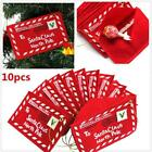 10X Merry Christmas Envelope With Greeting Card Postcard Xmas Tree Hanging Decor