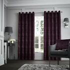 Luxury Curtina Downton Velvet Heavy Weight Lined Eyelet Curtains Purple