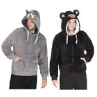 Mens Soft Snuggle Novelty Zipped Hooded Top Casual Loungewear Gorilla Wolf S-XL
