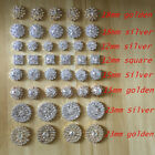Silver Tone Clear Crystal Rhinestone DIY Embellishments Flatback Buttons Decor