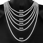 New Iced out 3 Prong One Row 14K White Gold Finish Tennis Necklace Chain