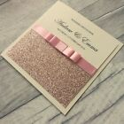 *SAMPLE* PERSONALISED ROSE GOLD POCKETFOLD GLITTER WEDDING EVENING INVITATIONS