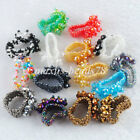 Free Shipping Crystal Faceted Beads Stretch Finger Ring US 6~10 Jewelry MBJ300