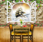 3D Sailboat Window 785 Wall Paper Murals Wall Print Wall Wallpaper Mural AU Kyra