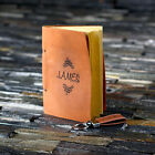 Personalised Full-Grain Leather Journal Diary Notebook & Keyring Gift Set