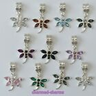 1 or 4 x Silver Plated Rhinestone Dragonfly European Charm Bracelet Dangle Beads