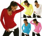 Jumper Sweater Ladies Womens Plain V-Neck Knitted Tops Long Sleeve One Size 8 10