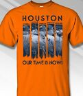 HOUSTON TIME IS NOW T- SHIRT ORANGE  Adult Sizes Brand New