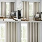 Set of 2 Navo Geometric Lined Curtain Panels - Grommet Top - Cream or Gray