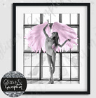 Fashion Scandi Art Pink Angel Wings Modern Beauty Room Wall Art Print
