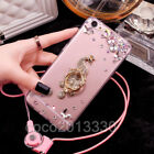 Luxury Bling Diamond Crystal Ring Holder stand Soft Case Cover & neck strap #H7