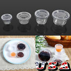 50/100pcs Small Clear Plastic Smoothly Condiment Sauce Disposable Cups with Lids