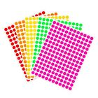 "~¼"" 8mm Neon Color Coding Round Dot Stickers Permanent Adhesive Circle Labels"