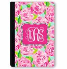 personalized leather ipad mini case - Monogrammed iPad Case for iPad Mini iPad Air, Pro Personalized Pink Floral Roses