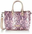 Liebeskind Berlin Liselotte D Satchel Bag Nylon/Leather Trim Python Print Rose