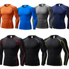 Men's Compression Tops Athletic Crew-neck Long Sleeve Skin Base Layers Tights