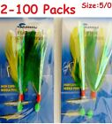2 100 Packs 5 0 Rock Cod Feather Rigs Green Yellow Rockfish Bait