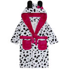 Girls Dalmation Dog Robe Hooded Soft Fleece Bath Robe Novelty Dressing Gown Gift