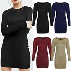 Womens Ladies Party Dress Mini Bodycon Hoop Sexy Faux Suede Long Sleeve Size New