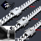 """7""""-11""""MEN Stainless Steel 10/12/14mm Silver ICED Miami Cuban Curb Chain Bracelet"""