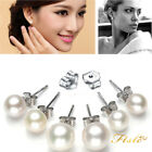 Wholesale Genuine Natural Akoya Cultured Pearl Silver Stud Earrings AAA+ white