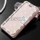 Bling Magnetic Crystal Diamond Leather Flip Wallet Case Cover For iPhone Samsung